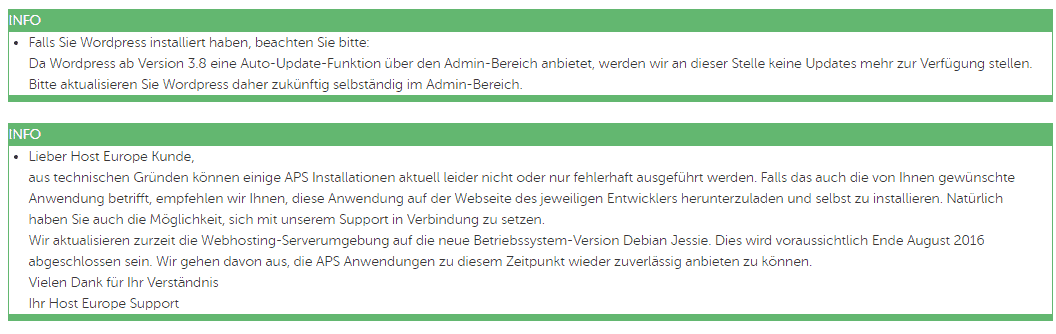 HostEurope APS-Info